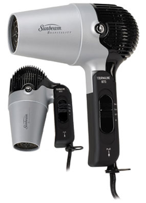 Sunbeam Compact Folding Hair Dryer With Retractable Cord Black 811422